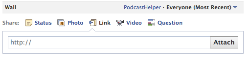 box to insert an audio link on facebook
