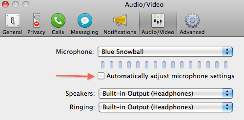 Mac Skype Settings to disable AGC