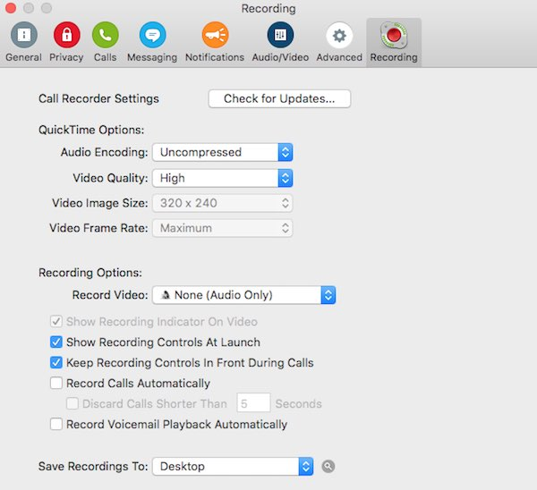 Call Recorder settings
