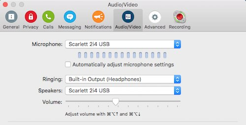 Skype settings Call Recorder