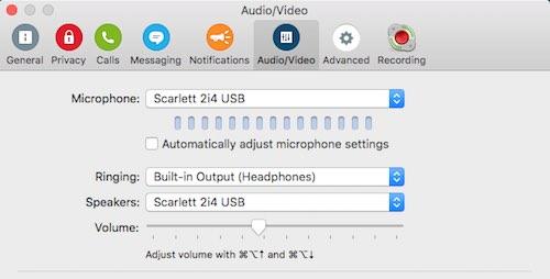 Skype settings Call Recorder